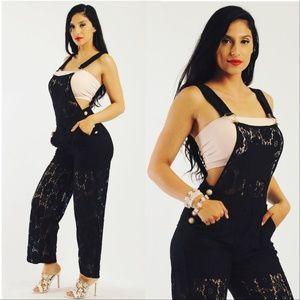 MODA ME COUTURE Pants - BLACK LACE OVERALLS / JUMPSUIT